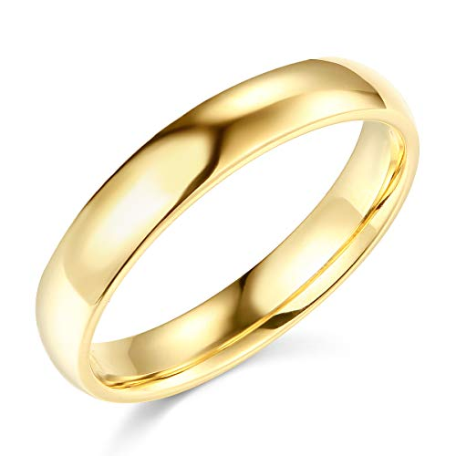 Wellingsale Ladies 14k Yellow Gold Solid 4mm COMFORT FIT Traditional Wedding Band Ring - Size 6