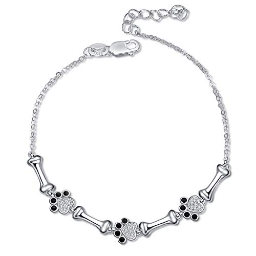 YFN Dog Paw and Bone with Black Cubic Zirconial 925 Sterling Silver Women Link -