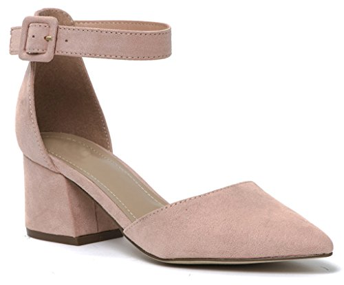 Women Faux Suede Almond Pointy Toe d'Orsay Pump Covered Buckle Ankle Strap Chunky Heel Mauve 7 (Almond Pointy)