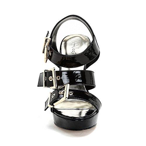 Scarpe amp;Scarpe 0 con ALESYA 12 de Altas Hebillas by cm con 40 Doradas Sandalias Negro Piel Tacones q1C5FEC