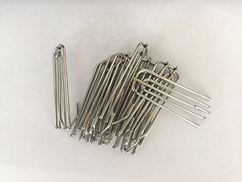 Interbusiness Curtain Hooks 4 Prongs / 4 End Stainless Steel Curtain Pleat Hooks, Silver (50)