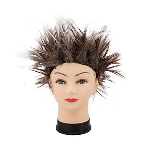 Multifit Unisex Funky Spiky Wigs Crazy Halloween Costumes Cosplay Punk Wig Accessory(Brown)