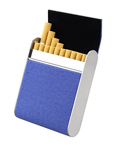 BeeChamp Home Rolled Cigarette Holder Pocket Carrying Hard Case for 20 Cigarettes (Blue) (E Cig Organizer)
