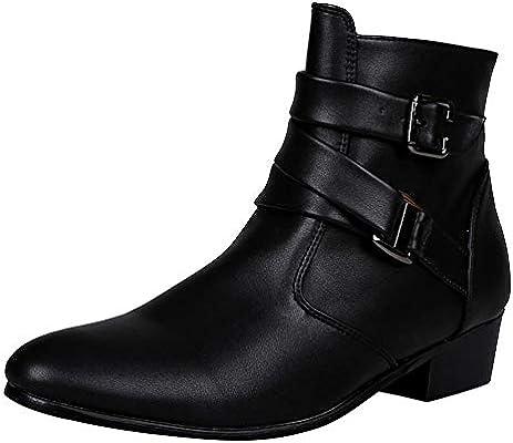 LuckyGirls Botas Moteras para Hombre Hebilla Estilo Británico Botitas Zapatillas Calzado Zapatos Botas Altas: Amazon.es: Deportes y aire libre