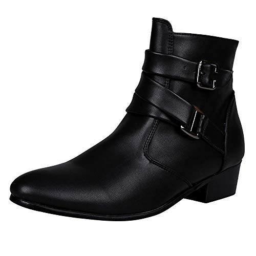 - Fiaya Men's Leather Chelsea Boots Motorcycle Martin Boots Zipper Buckle Western Formal Dress Boots (Black, US:10)