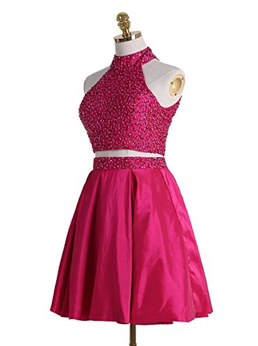 Two Dress Back Sequin Cocktail Fuchsia Party Chupeng 2017 Piece Prom Gown Homecoming Beaded Short Open dw0wqTxz1