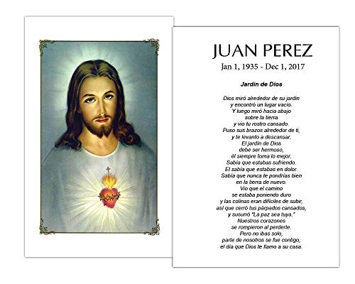 Funeral Memorial Prayer Cards (50 Cards) FPC1008EN Jesus (Custom Printed - Select Desired Prayer) ()