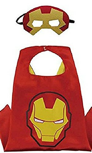 Honey Badger Brands Dress Up Comics Cartoon Superhero Costume with Satin Cape and Matching Felt Mask, Iron Man ()