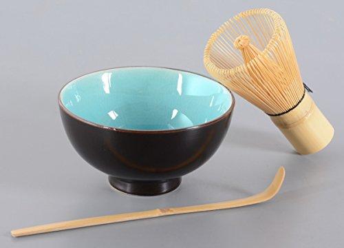 Matcha-Set 3-teilig, 250ml himmelblau, Craquelé-Muster / Matcha Schale / Matcha Bambuslöffel / Matcha Bambusbesen, in Geschenkbox, Original Aricola