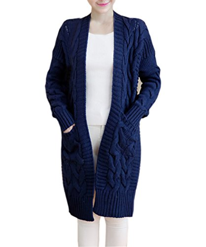 NUTEXROL Women's Open Front Long Sleeve Knit Think Cardigan Chunky Sweater Navy Blue Large