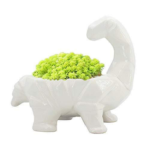 GeLive Cartoon Dinosaur Planter, Ceramic Succulent Plant Pot, Fun Animal Planter, Flower Container, Window Box, Home Decor Vase, Desktop Decorative Organizer, with Draining Hole (White)