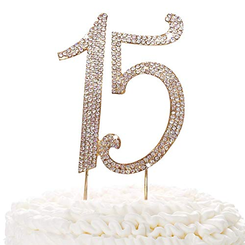 (15 Gold Cake Topper | Premium Sparkly Crystal Rhinestones | 15th Birthday or Anniversary Party Decoration Ideas | Quality Metal Alloy | Perfect)