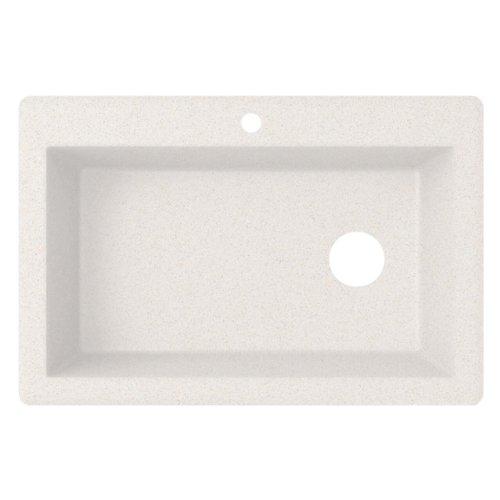 White Kitchen Sink Offset Drain Left