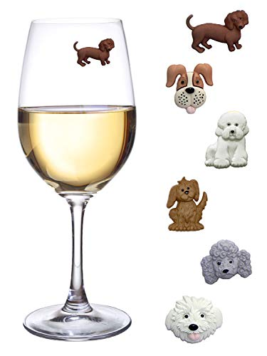 Simply Charmed Magnetic Dog Wine Charms or Glass Markers for Stemless Glasses - Great Birthday or Hostess Gift for Dog Lovers - Set of 6 Cute Puppy Glass Identifiers