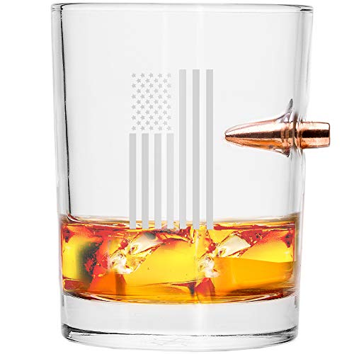 Lucky Shot .308 Real Bullet Handmade Whiskey Glass - Draped Flag