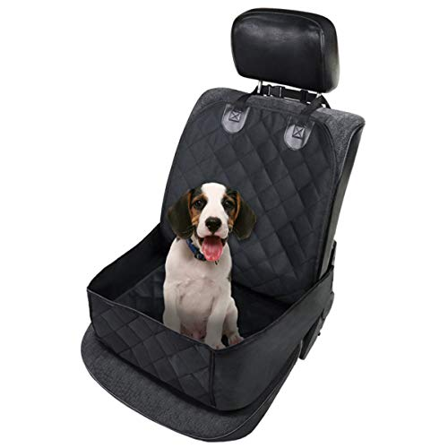 MASO Car Seat Cover for Dogs Waterproof Pet Front Seat Cover Adjustable Dog Travel Hammock with Seat Anchors, Easy Washable, Universal fits All Cars, Pet Cover(Black)
