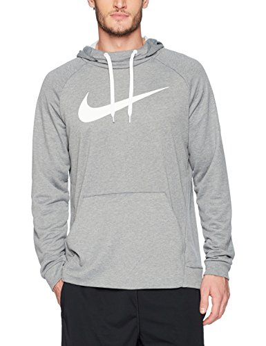 NIKE Men's Dry Pullover Swoosh Hoodie, Carbon Heather/White, Medium by NIKE