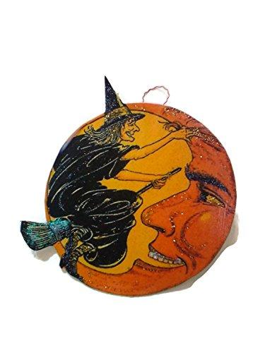 Halloween Ornament Decoration Black Witch Smiling Orange Moon (Handmade Halloween Decorations)