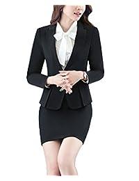MFrannie Women 3-Pieces Bowknot Blouse Blazer Skirt Slim Fit Office Suit Set