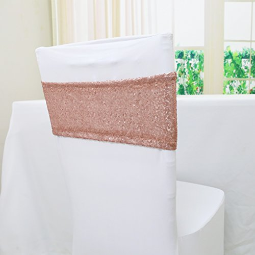 (TRLYC 10 Pieces Spandex Chair Sequined Sashes 6 by 14Inch- Blush)