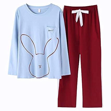 Pijamas pijamas señoras de algodón de manga larga pijamas simples bolsillos de conejito camisón dulce de