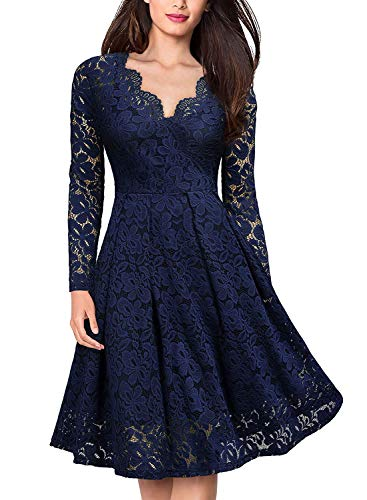 YIXUAN Women Vintage Long Sleeve Dresses Floral Lace Party Cocktail Swing Dress Dark Blue_V_2 X-Large