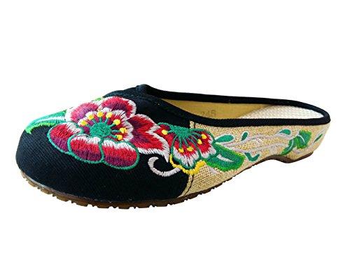 SMITHROAD Damen Hausschuhe Pantoffeln Sommer mit Stickerei Blumen Motiv Schwarz Rot Grün Gr.34-41 Schwarz