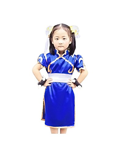 Miccostumes Girl's Street Fighter Chun Li Cosplay Costume Large Blue and White