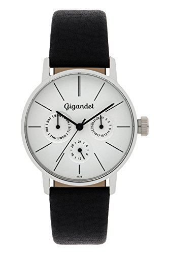 Gigandet Women's Quartz Watch Minimalism Multifunction Analog Leather Strap Silver Black G38-001
