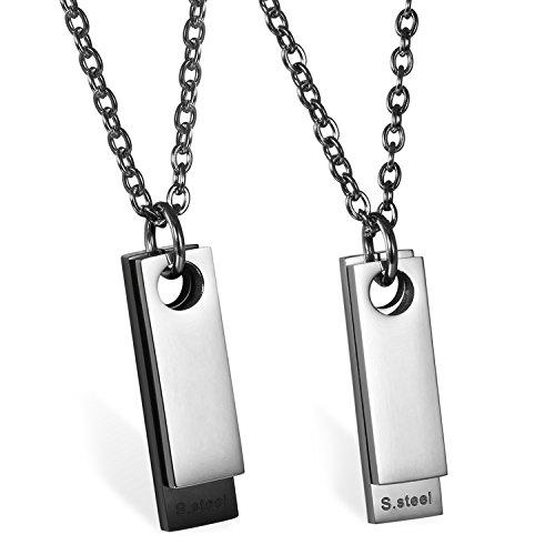 JewelryWe Schmuck Herren Halskette mit Gravur, Edelstahl Klassische 2 Poliert Dog Tag Anhänger mit 55cm Kette, Silber Schwarz