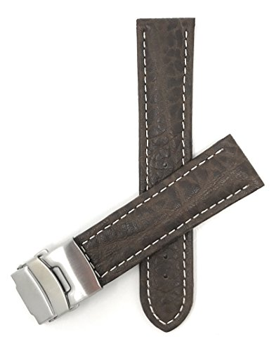 - 20mm to 24mm Genuine Leather Watch Strap Band with Deployment Clasp Buckle and White Stitching, Black, Brown, Tan (22MM, Brown/White Stitching)