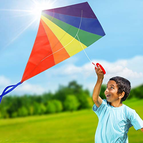 Diamond Rainbow Kite for Kids and Adults for Beach and Outdoor Games , 47 Inch Kite Best for Summer Fun, Durable Easy Flyer Kit w/ Flying Line and Spool, Nylon Kite with Fiberglass Rods for Beginner