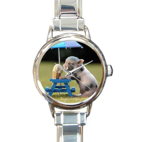 Personalized Watch Little Lovely Cute Baby Pig Round Italian Charm stainless steel Watch