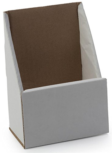 Case of 100, Corrugated Brochure Holders for 4 x 9 Literature, White Cardboard Holders Ship Flat, Slant Back Pamphlet Racks for Countertop -
