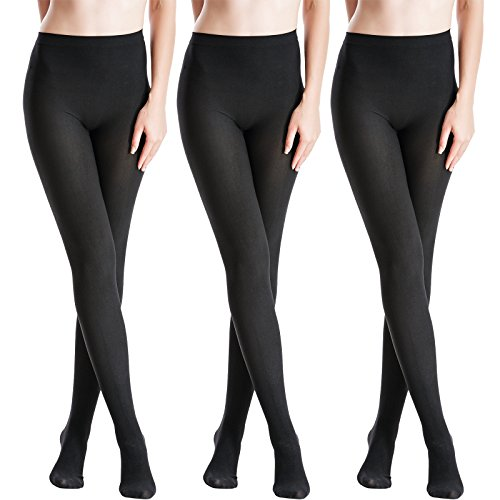 (Zeraca Women's 120D Sheer To Waist Pattern Footed Opaque Tights 3 Pack (S/M, Black))
