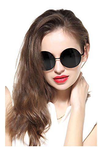 GEELOOK Oversized Round Circle Mirrored Hippie Hipster Sunglasses - Metal Frame (Black Matte Frame/Black Lens, -