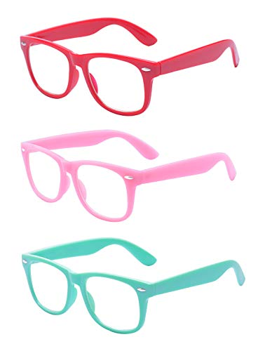Outray Kids Children Nerd Retro Clear Lens Eye Glasses Age 3-10 (Red+Pink+Aquamarine, 47)]()