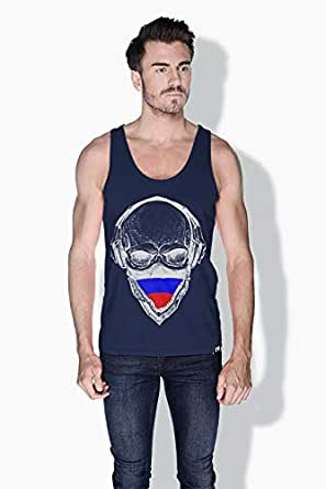 Creo Russia Skull Tanks Tops For Men - Xl, Blue