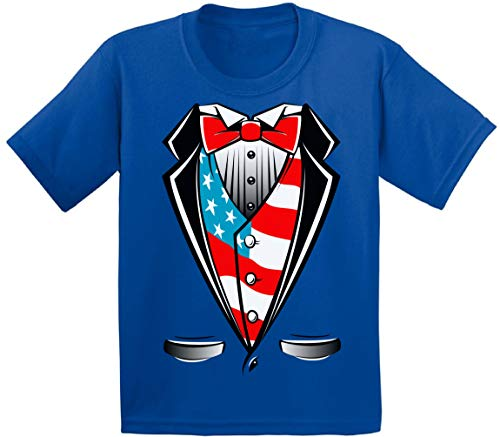 Awkwardstyles Youth American Flag Distressed T-Shirt 4th July Shirt + Bookmark (Large, American Flag Tuxedo) ()