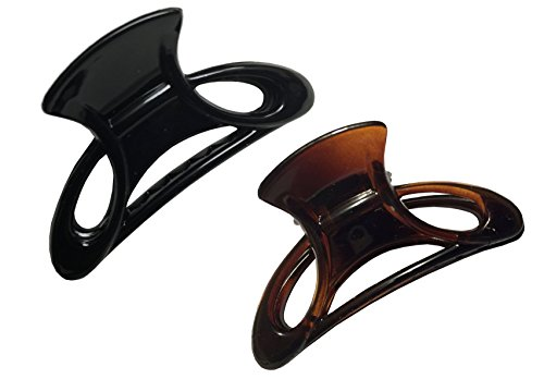 Parcelona French Cut Out Set of 2 Small Shell N Black Cellulose Acetate Jaw Hair Claw Clip Clamp Clutcher