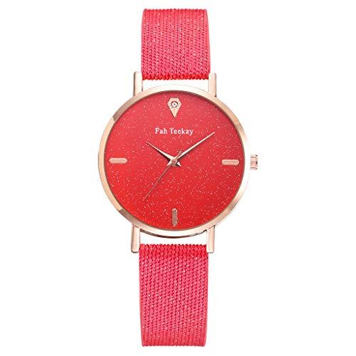 Women Watch Starry Four Scale Dial Diamond Decoration Woven Bands Analog Quartz Wristwatch (Red)