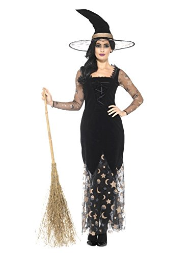 Smiffy's Women's Deluxe Moon and Stars Witch Costume, Black/Gold, (Adult Magical Witch Costumes)