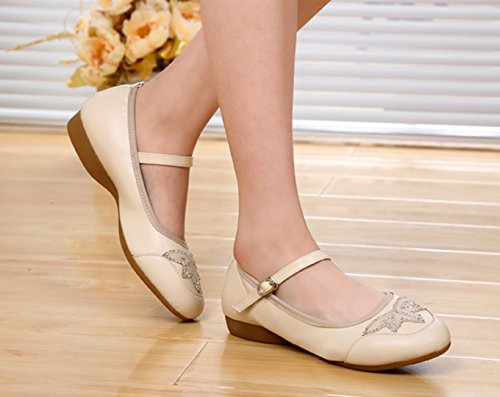 VECJUNIA Damen Knöchelriemen Wölbungs Athletische Turnschuhe Modernen Flachen Mund Tanz Schuhen Beige