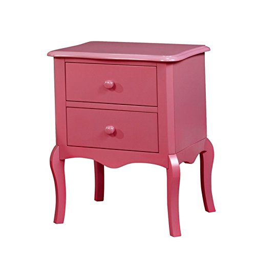 Furniture of America Torrez 2 Drawer Nightstand in Pink by Furniture of America