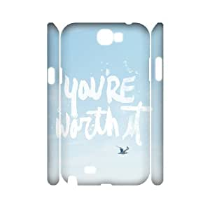 3D Samsung Galaxy Note 2 Cases You Are Worth It, Samsung Galaxy Note 2 Cases Quote Motivation Design For Men, [White]
