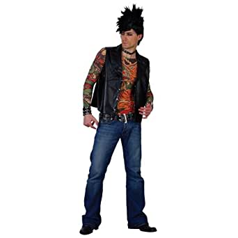Wicked Costumes - Disfraz para adultos de roquero de los años 70/80 tatuado (talla XL)