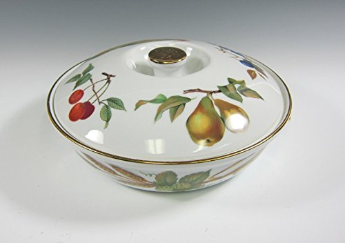 Royal Worcester Antiques (Royal Worcester China EVESHAM Round Entree Dish with Lid EX)