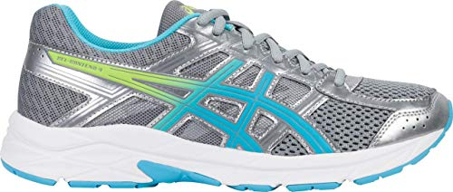 ASICS Gel-Contend 4 Women's Running Shoe, Silver/Aquamarine/Sharp Green, 8 M US