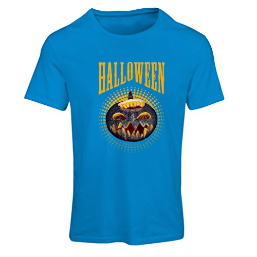 T shirts for women Halloween pumpkin - clever costume ideas 2017 (Medium Blue Multi Color)