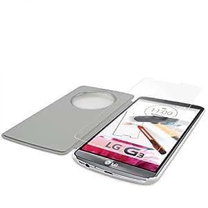 Funda tipo cartera + Del caparazón diapositiva/protector de pantalla de vidrio para LG G3smartphone protección caso protectora carcasa de TPU en color blanco con cristal Slide Set